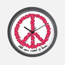 Hearts Peace Sign Wall Clock
