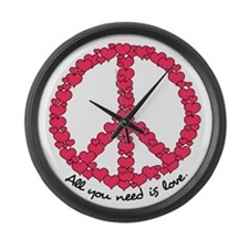 Hearts Peace Sign Large Wall Clock