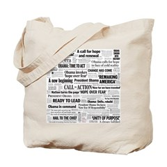 Obama Inauguration Headline Collage Tote Bag