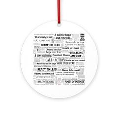 Obama Inauguration Headline Collage Ornament (Roun