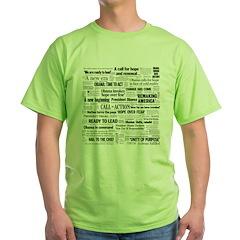 Obama Inauguration Headline Collage Green T-Shirt