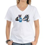 44: Obama Inauguration Newspaper Women's V-Neck T-