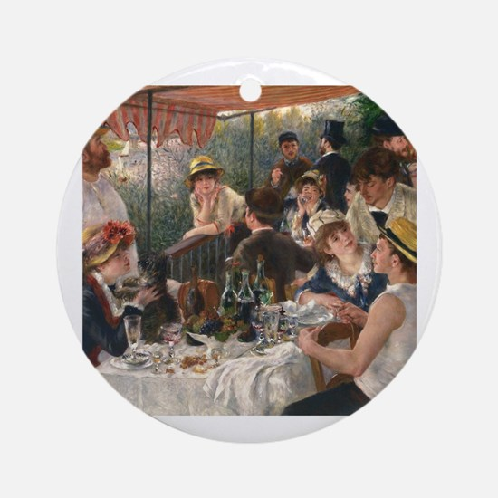Cute Renoir luncheon of boating party Round Ornament