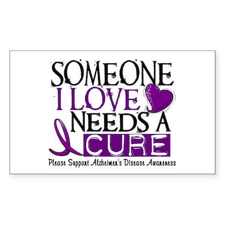 Needs A Cure ALZHEIMERS DISEASE Sticker (Rectangle