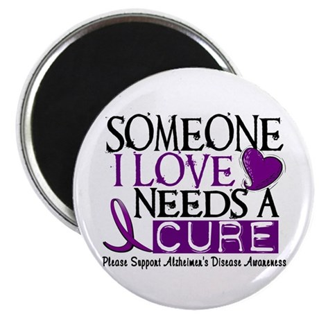 "Needs A Cure ALZHEIMERS DISEASE 2.25"" Magnet (100"
