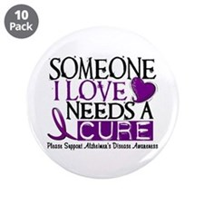 """Needs A Cure ALZHEIMERS DISEASE 3.5"""" Button (10 pa"""