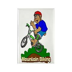 Mountain Biking Rectangle Magnet