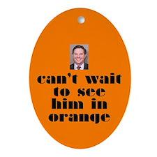 DeLay prison orange Oval Ornament