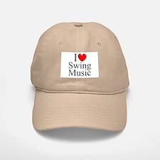 """I Love (Heart) Swing Music"" Baseball Baseball Cap"