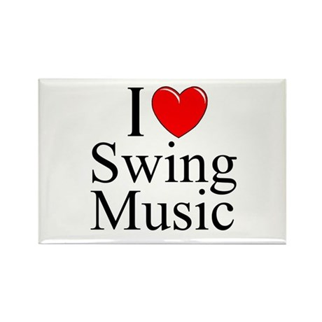 """I Love (Heart) Swing Music"" Rectangle Magnet"