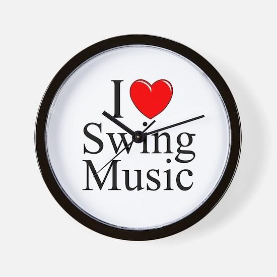 """I Love (Heart) Swing Music"" Wall Clock"