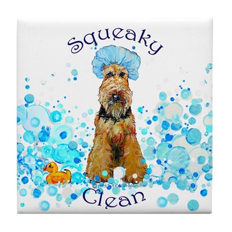 Welsh Terrier Bubble Bath Tile Coaster