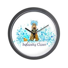 Welsh Terrier Bubble Bath Wall Clock