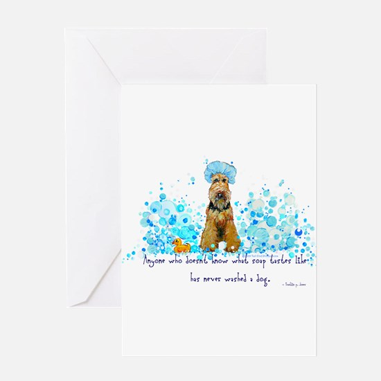 Welsh Terrier Bubble Bath Greeting Card