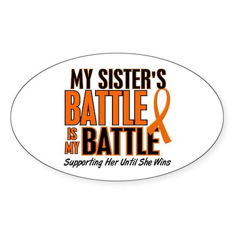 My Battle Too (Sister) Orange Oval Sticker
