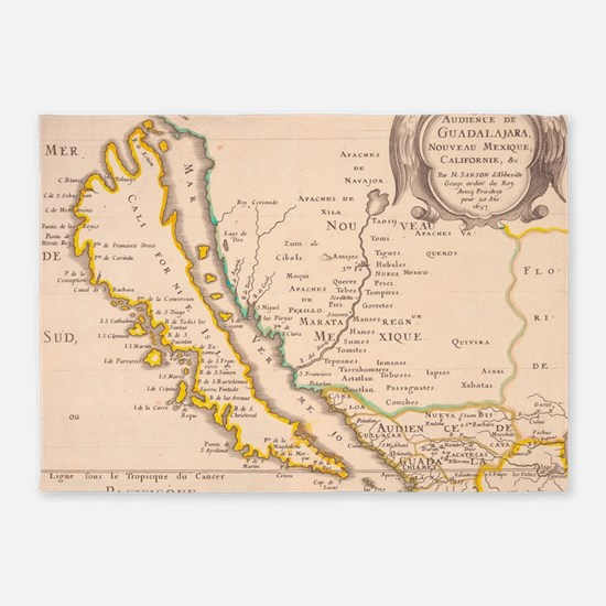 Vintage Map of California (1657) 5'x7'Area Rug