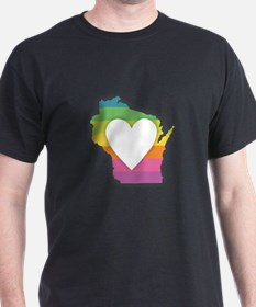 Wisconsin Rainbow Heart T-Shirt
