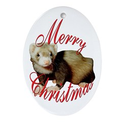 Christmas Ferret Oval Ornament