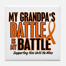 My Battle Too (Grandpa) Orange Tile Coaster