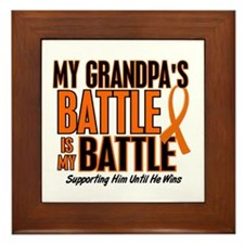 My Battle Too (Grandpa) Orange Framed Tile
