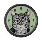 Grey Tabby Large Wall Clock