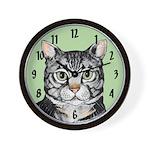 Grey Tabby Wall Clock