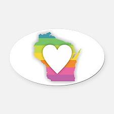 Wisconsin Rainbow Heart Oval Car Magnet