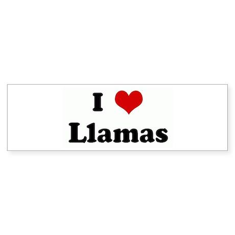 I Love Llamas Bumper Sticker