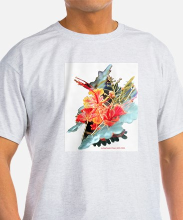 Red Galapagos Island Flowers Ash Grey T-Shirt