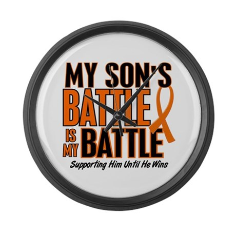 My Battle Too (Son) Orange Large Wall Clock
