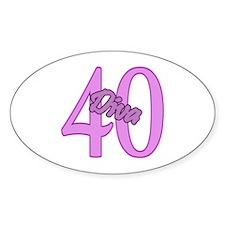 40th Birthday Diva Oval Decal