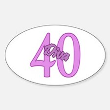 40th Birthday Diva Oval Decal