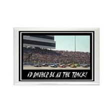 """I'd Rather Be At The Track"" Rectangle Magnet"