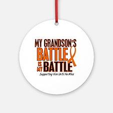My Battle Too (Grandson) Orange Ornament (Round)