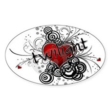 Twilight valentine grunge Oval Decal