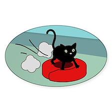 Kitten Riding Robot Vacuum Oval Decal
