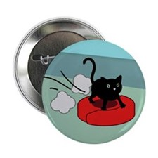"Kitten Riding Robot Vacuum 2.25"" Button"