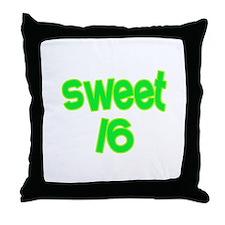 Green Sweet 16 Throw Pillow
