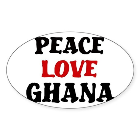 Peace Love Ghana Oval Sticker