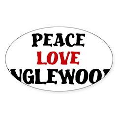 Peace Love Inglewood Oval Sticker (10 pk)