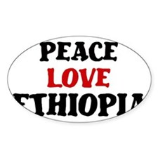 Peace Love Ethiopia Oval Decal