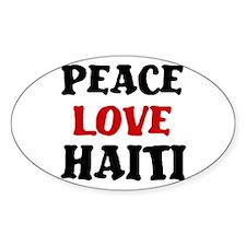 Peace Love Haiti Oval Decal