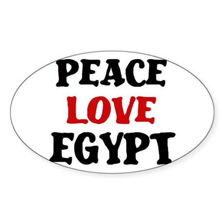 Peace Love Egypt Oval Sticker (10 pk)