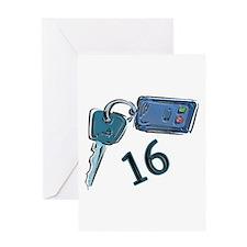 16th B-day Car Keys Greeting Card