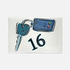 16th B-day Car Keys Rectangle Magnet