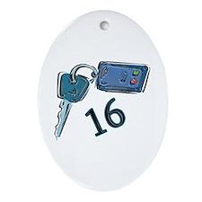 16th B-day Car Keys Oval Ornament