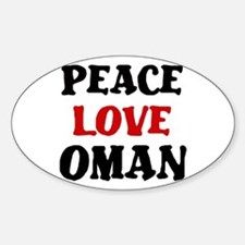 Peace Love Oman Oval Decal