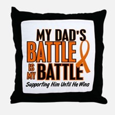 My Battle Too (Dad) Orange Throw Pillow