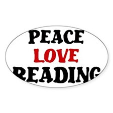 Peace Love Reading Oval Decal