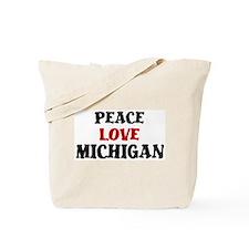 Peace Love Michigan Tote Bag